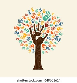 Human handprint tree with hands of colorful ethnic group. Community help concept illustration. EPS10 vector.