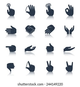 Human hands applause tap helping action gestures icons black set isolated vector illustration