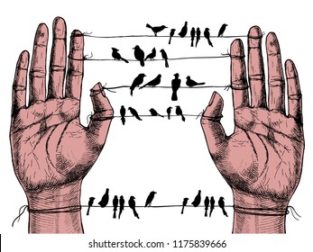 Human hands and birds on wires. Hand-drawn vector symbolic illustration for your surreal design.