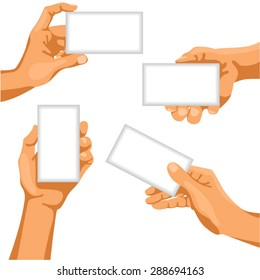 Human hands with business cards in them / There is illustration of human hands in different positions with business card in them