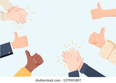 Human hands clapping. Applaud hands. Vector illustration in flat style. Many Hands clapping ovation and thumps up, applaud hands. Flat cartoon business success illustration. Social media marketing