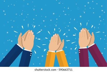 Human hands clapping. applaud hands. vector illustration in flat style.