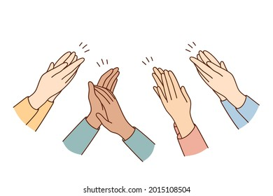 Human hands clapping and applauding concept. People crowd applauding to congratulate success job cheering and ovation vector concept
