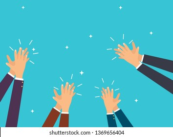 Human hands clapping. Flat design modern vector illustration concept.