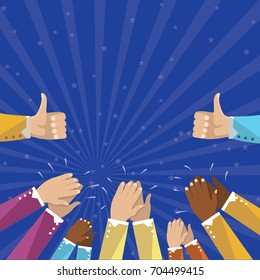 Human hands clapping isolated on blue background. Party celebration concept