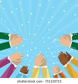 Human hands clapping isolated on blue background. Party celebration concept, modern design