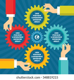 Human hands with colored gears - infographic business concept - vector illustration in flat style design. Cogwheels creative layout.