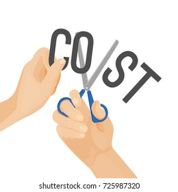 Human hands cutting word cost, concept of reduction budget cuts