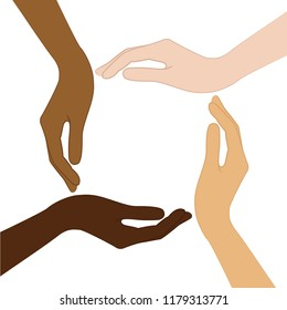 human hands with different skin color tolerance and anti racism concept vector illustration EPS10
