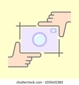 Human hands doing cropping symbol isolated. Framing hands and camera.