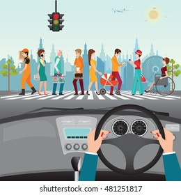 Human hands driving a car on asphalt road with people walking on the crosswalk, crossing street, car interior, flat design vector illustration.