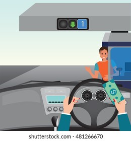 Human hands driving a car and showing car paying to access Highway toll , car interior, flat design vector illustration.
