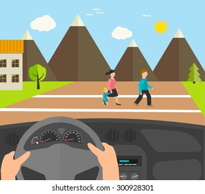 Human hands driving a car, vector illustration. Driver stops car on crosswalk. People crossing road.