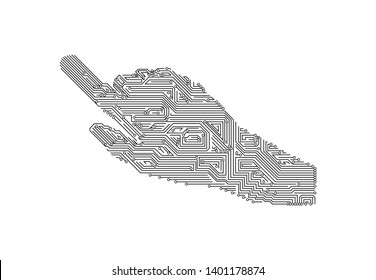Human hands in the form of circuit boards that are pressing on a white background. circuit eletric vector background.technology icon