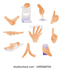 Human hands and gestures set - collection of male or female wrists showing multiple signs isolated on white background. Cartoon vector illustration of making signals by hands.
