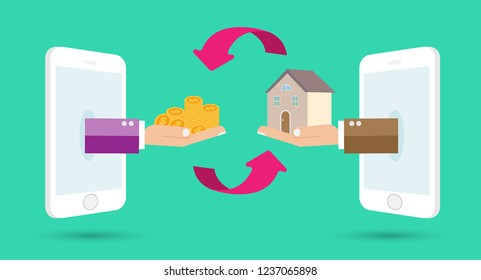 Human Hands with gold Money and House. Flat style concept design illustration. Real estate concept vector illustration. money exchange home. infographics. phone
