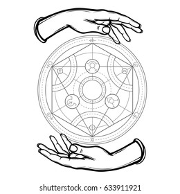Human hands hold Alchemical circle. Vector illustration isolated on a white background.