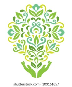 Human hands hold decorative tree. Ecological vector illustration. Concept of care of the nature and environment
