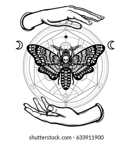 Human hands hold a moth the Dead Head. Alchemical circle. Symbols of the moon. Mysticism, esoteric, sorcery. Coloring book. Vector illustration isolated on a white background.