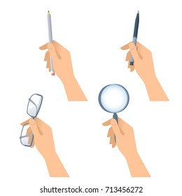 Human hands hold pen, wooden pencil, glasses and magnifying glass. Flat illustration of male and female hands with business and office stationery and supplies. Vector design elements isolated on white