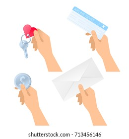 Human hands hold plane ticket, paper envelope, dollar coin, hotel room key. Flat illustration of male and female hands with business trip and travel objects. Vector design element isolated on white.