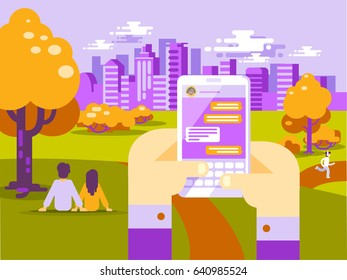 Human Hands Hold Smart Phone with Messenger App. People Using Gadgets Walking Outdoors in the Park in Big City. Flat Illustration of Young People Texting via Messenger on the Big City Skyline