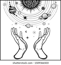 Human hands hold a stylized solar system, cosmic symbols, stars. Magic, alchemy,mysticism, occult. Monochrome vector illustration isolated on white background. Print, poster, T-shirt, postcard.