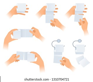 A human hands hold, wipe and tear off a toilet paper. The lavatory, wc and restroom vector element set isolated on white background. Flat concept illustration of hands with a rolls of toilet paper.