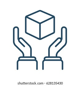 Human Hands Holding Cube vector icon in meaning Product