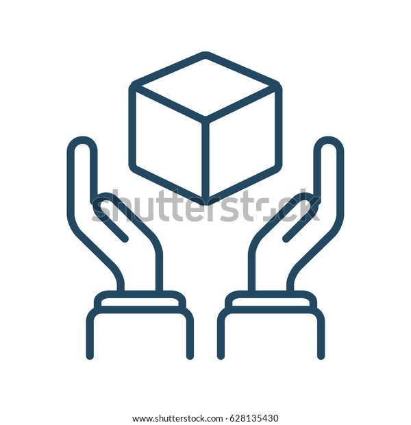 Human Hands Holding Cube Vector Icon Stock Vector (Royalty