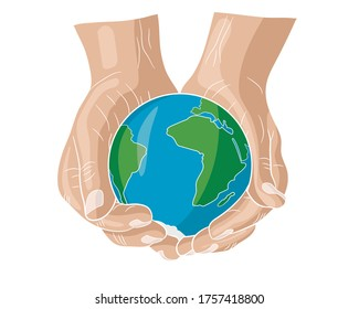 Human hands are holding a globe. Earth in the palm of man. . Travel icon. Power over the concept of the world. Earth Day. Vector illustration on a white background.