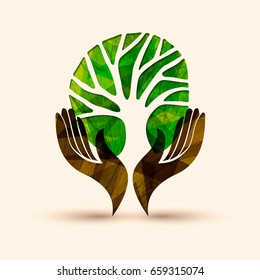 Human hands holding green tree symbol with nature texture. Concept illustration for environment care or help project. EPS10 vector.