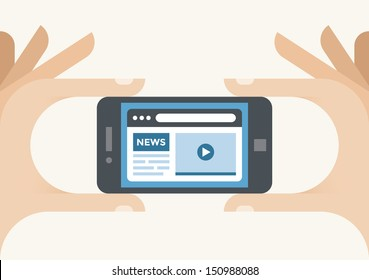 Human hands holding mobile phone with News internet site in the browser window