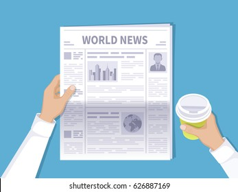 Human hands holding newspaper and disposable coffee cup. The latest world news for the morning coffee. Newspaper with photos, text and headlines in flat cartoon style. Vector illustration Top view.