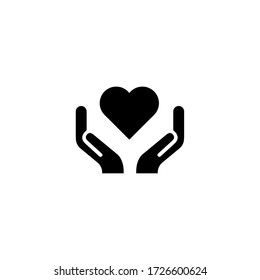 Human hands holding and protect red heart love and health symbol illustration