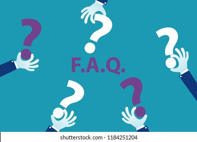 Human hands holding question mark FAQ text in the middle isolated on blue, frequently asked questions concept. Eps 10 Vector illustration Minimalist white blue purple flat business style modern design