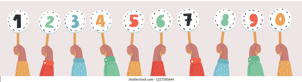 Human hands holding score cards. Set of numbers and in different colors. Colored scorecards. Concept: Juries assessment on the competition. Vector cartoon illustration in modern concept
