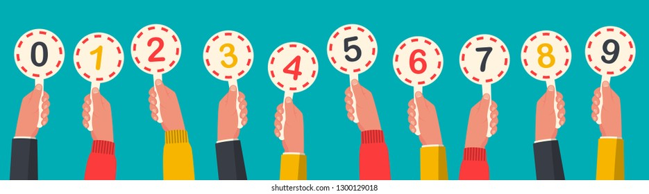Human hands holding score cards. Set colored scorecards. Juries assessment on competition. Judges holding score. Vector illustration flat design. Isolated on background.