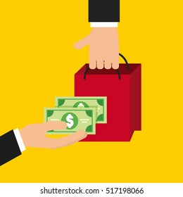 human hands holding a shopping bag and green money bills over yellow background. vector illustration