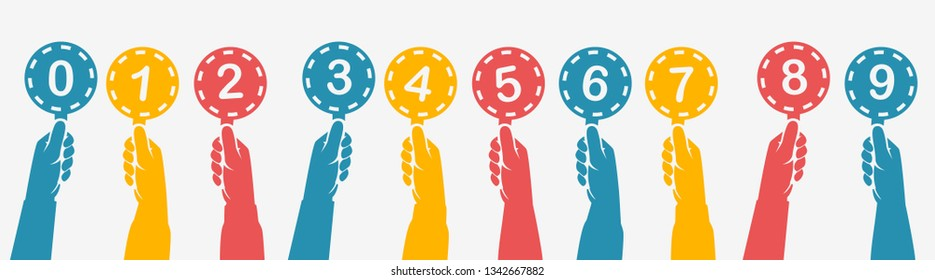 Human hands holding silhouette colorful score cards. Set colored scorecards. Juries assessment on competition. Judges holding score. Vector illustration flat design. Isolated on background.