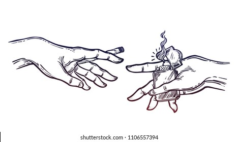 Human hands holding a weed joint or spliff or tobacco cigarette and a lighter. Drug consumption, marijuana use clip art. Concept design. Elegant tattoo artwork. Isolated vector illustration.