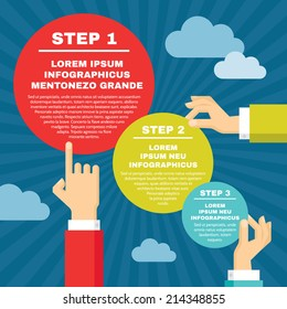 Human hands with infographic round blocks - vector concept illustration in flat style design for creative projects.