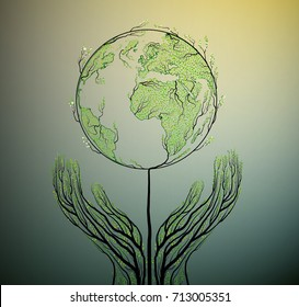 Human hands look like tree branches and open green earth globe like tree, take care of nature concept, protect tree idea, vector