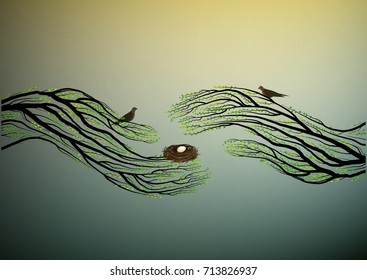 Human hands look like tree branches covering the bird nest, protect the birds and forest,  vector