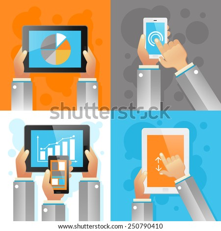 Human hands with mobile devices design concept set isolated vector illustration
