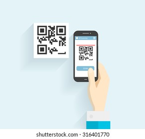 In human hands Mobile phone scanning qr-code icon. Digital technology, information barcode, symbol electronic scan.  - stock vector