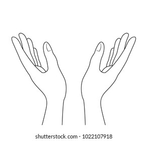 human hands outline.  vector illustration isolated on white background.