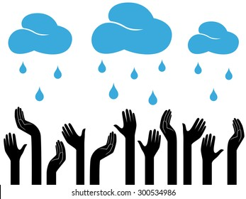 Human hands outstretched to the sky with raining clouds, conceptual ecologic vector illustration