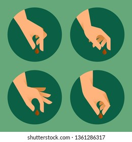Human hands planted seeds in various gestures. Gardening concept. Charity, donation metaphor. Creative flat style vector illustration
