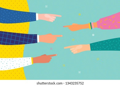 Human hands point finger to each other. Several human hands with pointing finger. Flat design, business vector illustration.